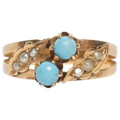 18 Karat Yellow Gold Persian Turquoise and Seed Pearl Fashion Ring, circa 1900s