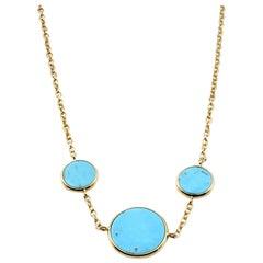 18 Karat Yellow Gold Persian Turquoise Necklace