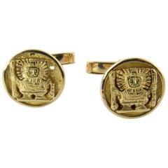 18 Karat Yellow Gold Peruvian Inca Warrior Cufflinks