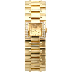 18 Karat Yellow Gold Piaget Dancer Pre-Owned Watch with Diamonds