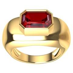 18 Karat Yellow Gold Pigeon Blood Emerald Cut Ruby Sculpture Ring