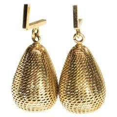 18 Karat Yellow Gold Pineapple Dangle Drop Earrings