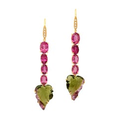 18 Karat Yellow Gold Pink and Bicolor Tourmaline Diamond Drop Dangle Earrings