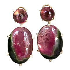 18 Karat Yellow Gold Pink and Watermelon Tourmaline Diamond Drop Dangle Earrings