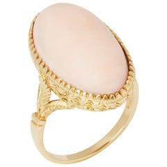18 Karat Yellow Gold Pink Coral Ring
