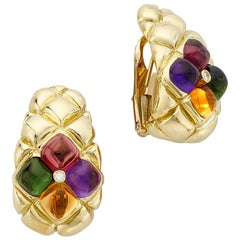 18 Karat Yellow Gold Pink-Green Tourmalines Amethyst Citrine Half Hoop Earrings