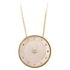 18 Karat Yellow Gold, Pink Mother, Sapphires Indexes, Gold Chain, Pendant