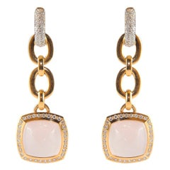 18 Karat Yellow Gold Pink Quartz Gold Art Nouveau Style Dangle Earrings