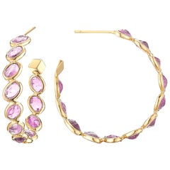 Paolo Costagli 18 Karat Yellow Gold Pink Sapphire Ombre Hoop Earrings, Medium