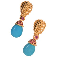 18 Karat Yellow Gold, Pink Sapphire '1.50 Carat' and Natural Turquoise Earrings