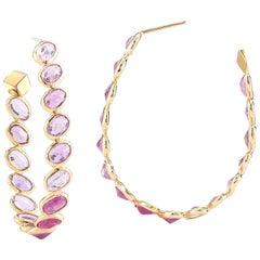 Paolo Costagli 18 Karat Yellow Gold Pink Sapphire Ombre Hoop Earring Grande