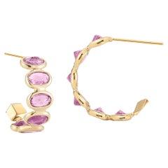 18 Karat Yellow Gold Pink Sapphire 3.70 Carat Hoop Earrings, Petite