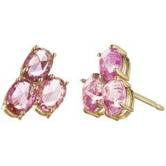 18 Karat Yellow Gold Pink Sapphire, 3.76 Carat Ombré Stud Earring Set