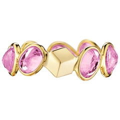 Paolo Costagli 18 Karat Yellow Gold Pink Sapphire, 4.86 Carat Ombre Ring