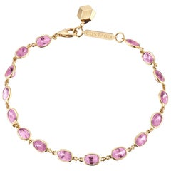 Paolo Costagli 18 Karat Yellow Gold Pink Sapphire 8.50 Carat Ombre Bracelet