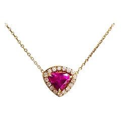 18 Karat Yellow Gold Pink Sapphire and Diamond Pendant/Necklace