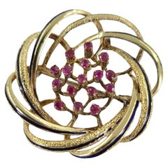 18 Karat Yellow Gold, Pink Sapphire, & Enamel Swirl Brooch