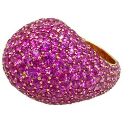 18 Karat Yellow Gold Pink Sapphire Dome Ring
