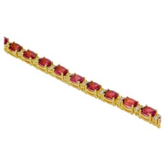 18 Karat Yellow Gold Pink Tourmaline Diamond Line Bracelet