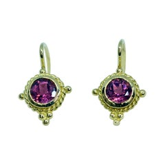 18 Karat Yellow Gold Pink Tourmaline Drop Earrings