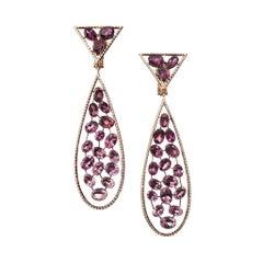 18 Karat Yellow Gold Pink Tourmaline White Diamonds Drop Earrings