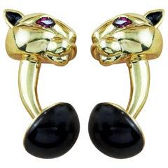 18 Karat Yellow Gold Plate Panther Ruby Onyx Black Enamel 925 Silver Cufflinks