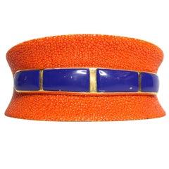 18 Karat Yellow Gold Plated Silver 925 Lapis Lazuli Orange Galuchat Bracelet