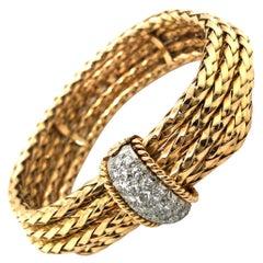 18 Karat Yellow Gold Platinum and Diamond Bracelet by Mellerio Paris, 1950s