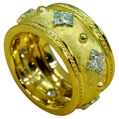 18 Karat Yellow Gold, Platinum and Diamond Cigar Band Ring