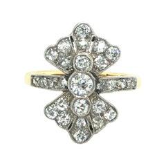 18 Karat Yellow Gold Platinum Diamond Engagement Dress Bow Ring, circa 1905