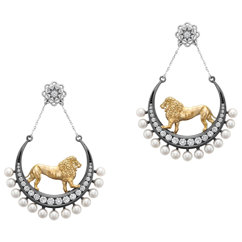 18 Karat Yellow Gold Platinum Diamonds Akoya Pearls Dangle Earrings Symbolic