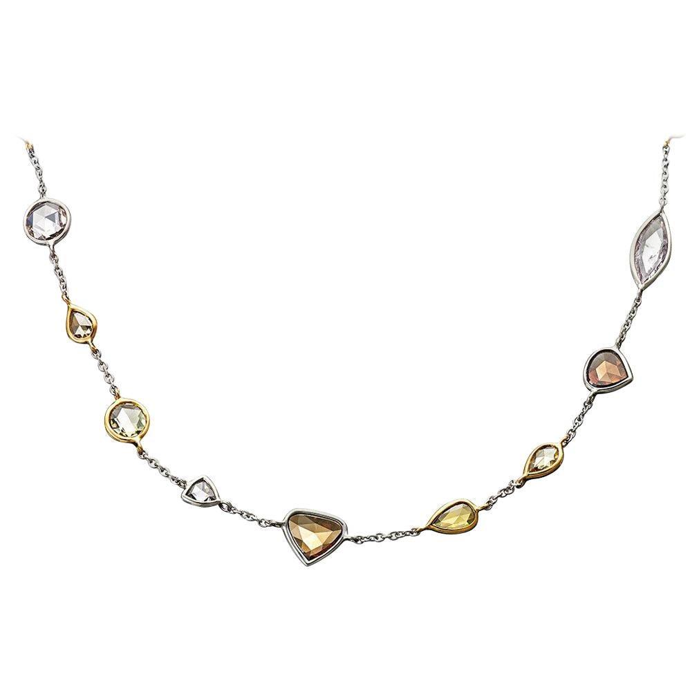 18 Karat Yellow Gold Platinum Necklace Fancy Diamonds