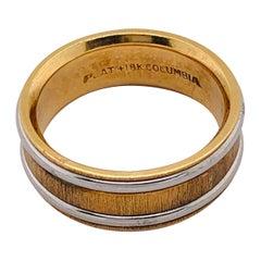 18 Karat Yellow Gold Platinum Ring Bridal or Wedding Band Ring