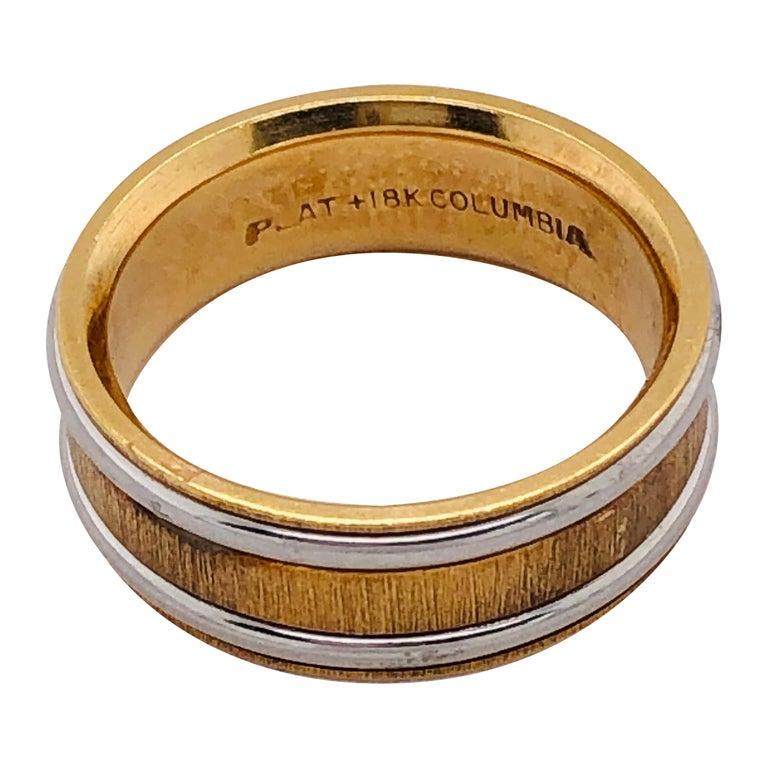 18 Karat Yellow Gold Platinum Ring Bridal or Wedding Band Ring For Sale