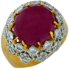 18 Karat Yellow Gold Platinum Ruby and Diamond Ring