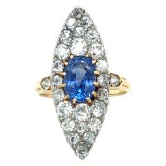 18 Karat Yellow Gold Platinum Sapphire Diamond Dress Cocktail Ring, circa 1905