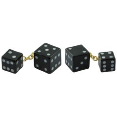 18 Karat Yellow Gold Playing Dice Cufflinks