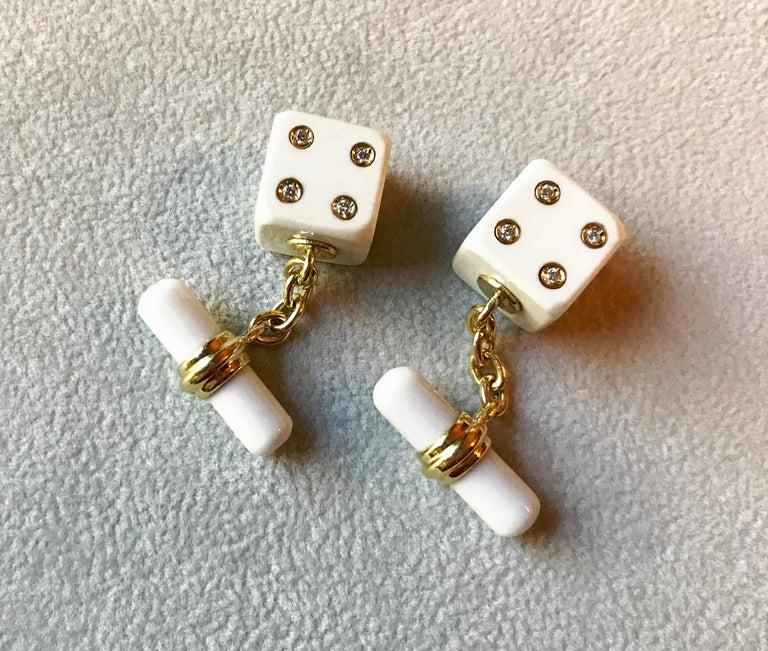 Women's or Men's 18 Karat Yellow Gold Playing Dice White Agate Diamonds Cufflinks For Sale