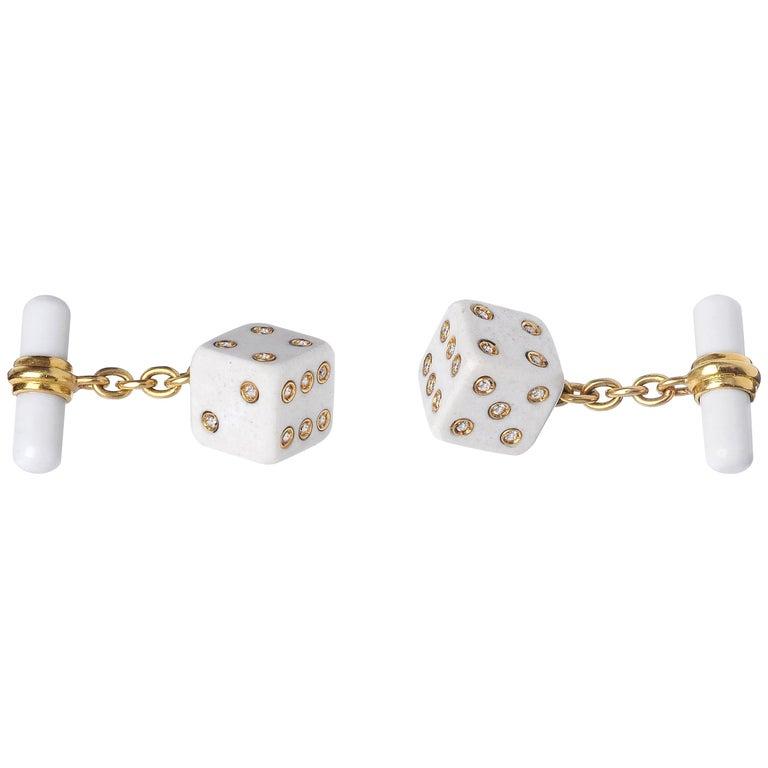 18 Karat Yellow Gold Playing Dice White Agate Diamonds Cufflinks For Sale