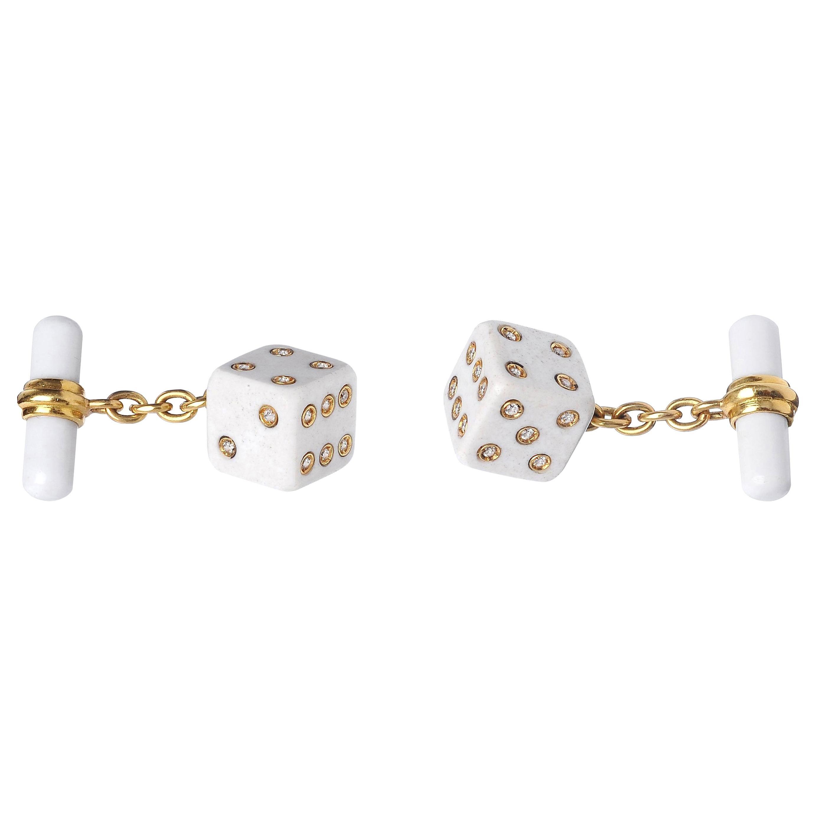 18 Karat Yellow Gold Playing Dice White Agate Diamonds Cufflinks