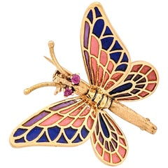 18 Karat Yellow Gold Plique-à-Jour Enamel Butterfly Brooch Pin