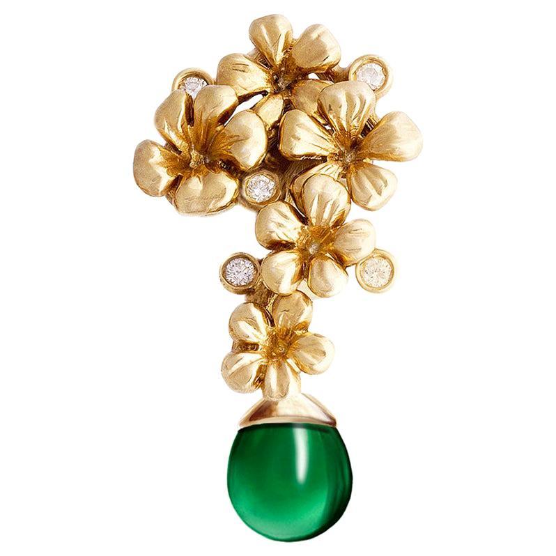 18 Karat Yellow Gold Plum Blossom Transformer Brooch with Emerald and Diamonds