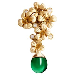 18 Karat Yellow Gold Plum Blossom Transformer Brooch with Emerald and Diamonds
