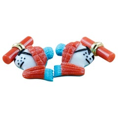 18 Karat Yellow Gold Polar Bear in Coral and Turquoise Cufflinks