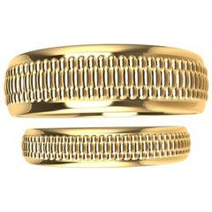 18 Karat Yellow Gold Polished Millgrain Wedding Rings Bridal Set