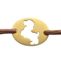 "Youmna Fine Jewellery 18 Karat Yellow Gold ""Prancing Dog"" Cord Bracelet"