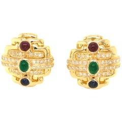 18 Karat Yellow Gold Precious Stone and Diamond Earrings