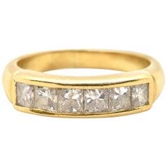 18 Karat Yellow Gold Princess Cut 1.80 Carat Diamond Wedding Band, 5.30 Grams