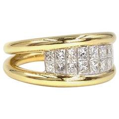 18 Karat Yellow Gold Princess Cut Diamond Double-Row Ring