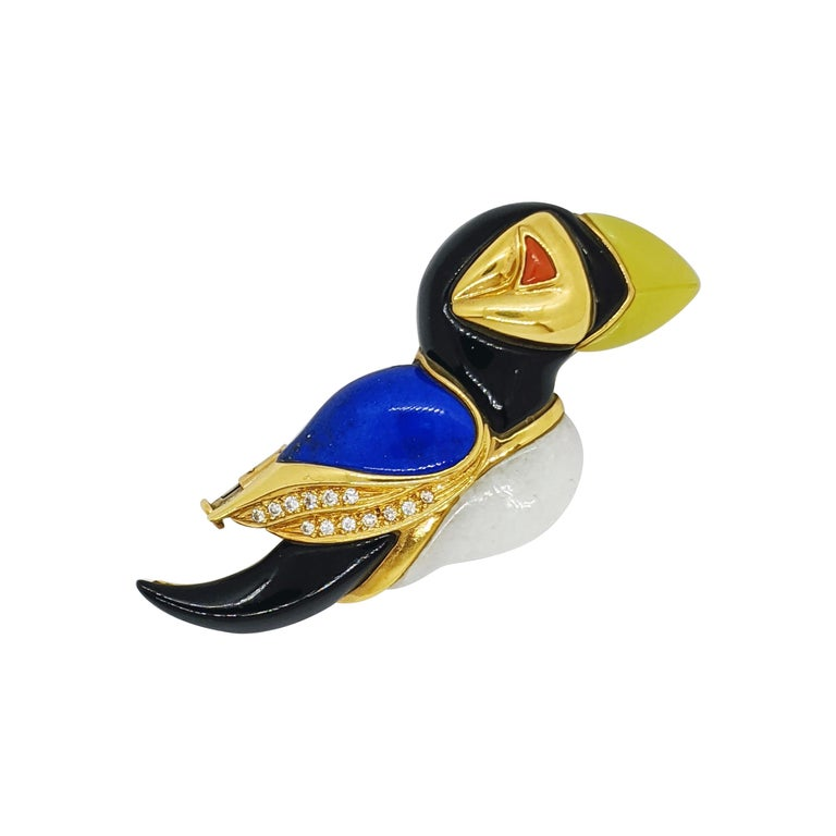 18 Karat Yellow Gold Puffin Brooch with Diamonds, Onyx, Lapis, Jasper & Agate For Sale